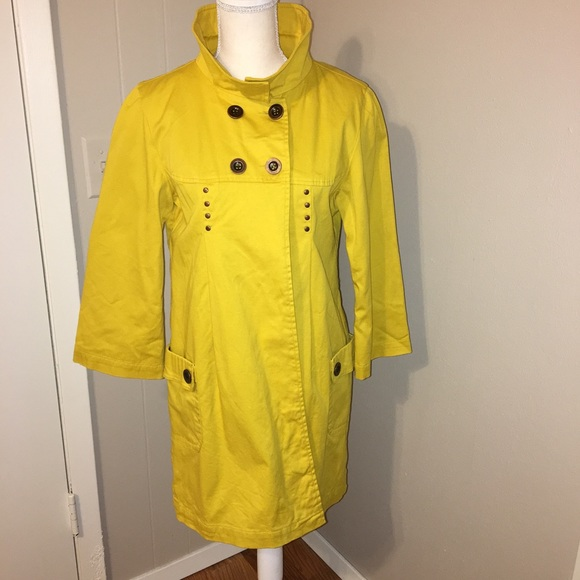 Tulle Mustard Swing Pea Coat Lined Metal Nwt